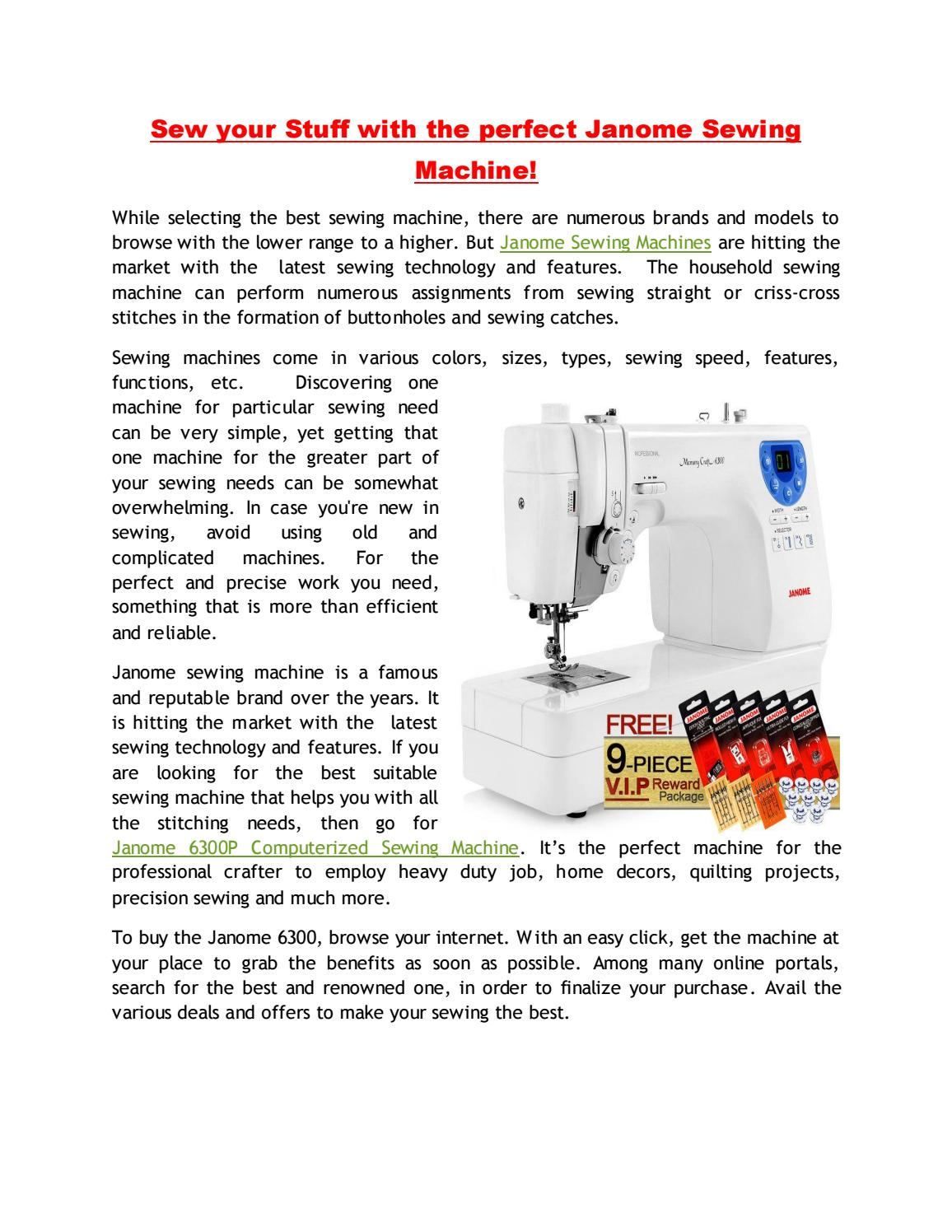 Sew Your Stuff With Perfect Janome Sewing Machine By Mr Vac And