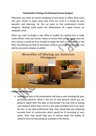 Top Benefits Of Hiring A Professional Interior Designer By Clinton Ron Issuu