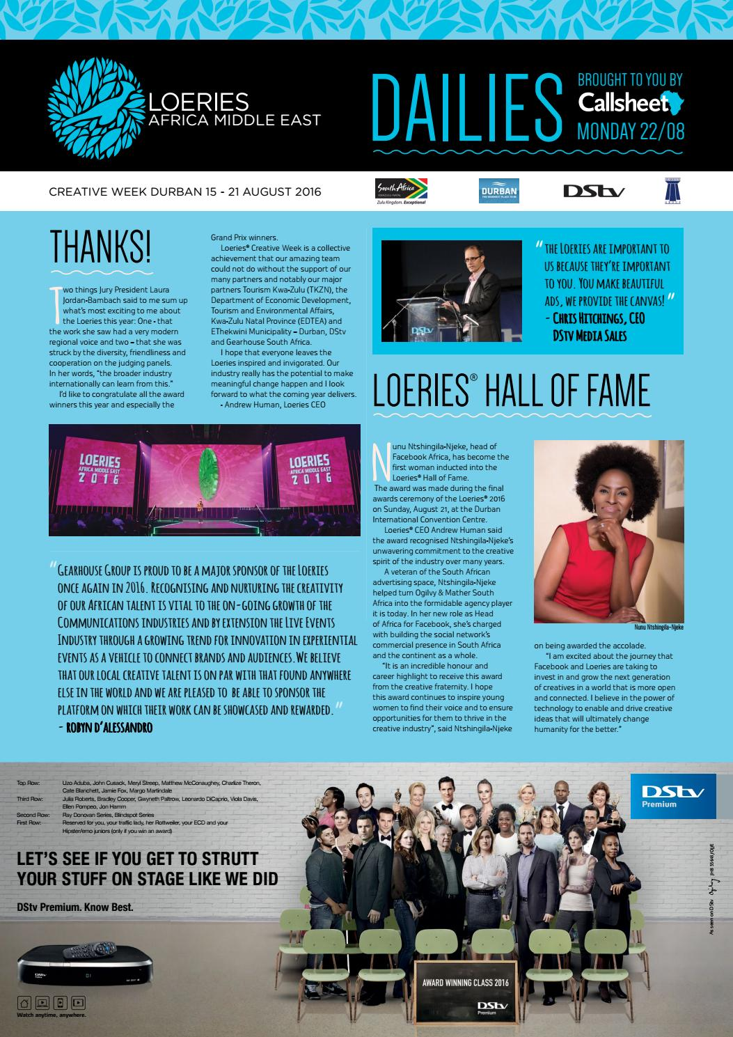 The Loeries 2016 Dailies Day 3 by Film & Event Media - issuu