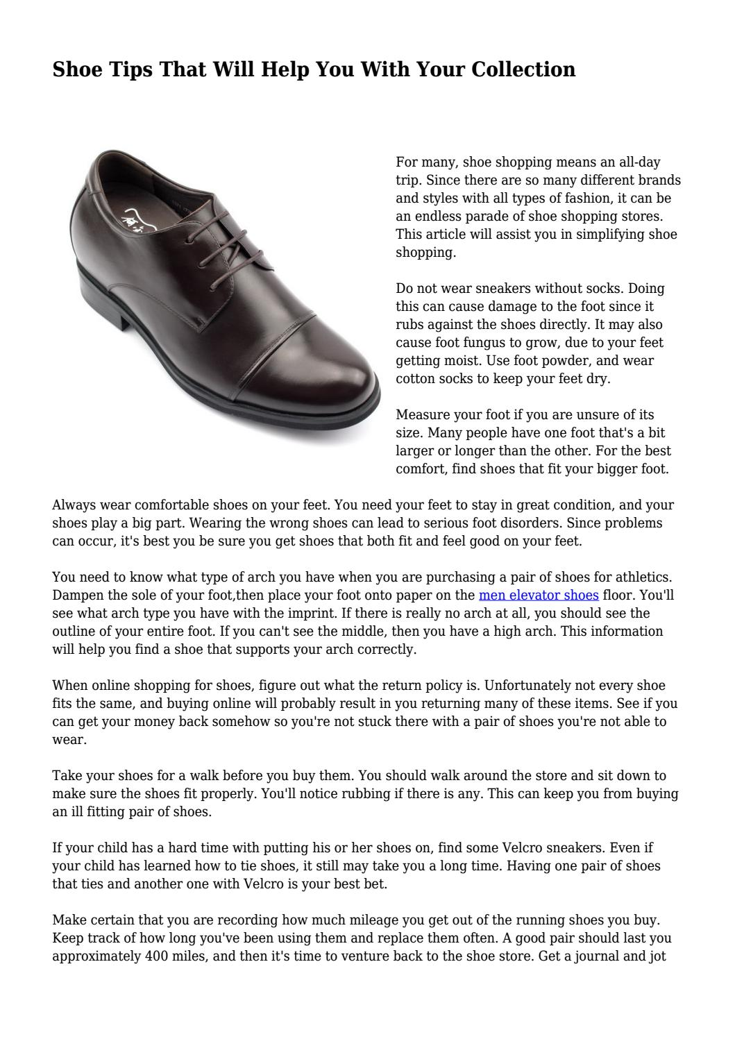 Shoe Tips That Will Help You With Your Collection By Elevatorshoeswebsite Issuu