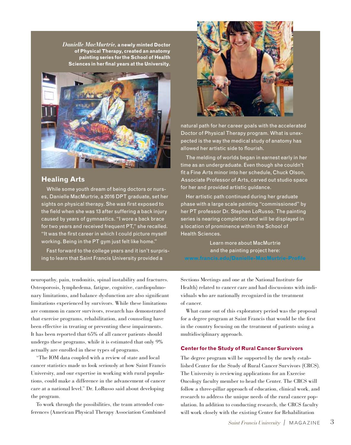 Advancement physical therapy - Saint Francis University Magazine Spring Summer 2016 By Saint Francis University Issuu