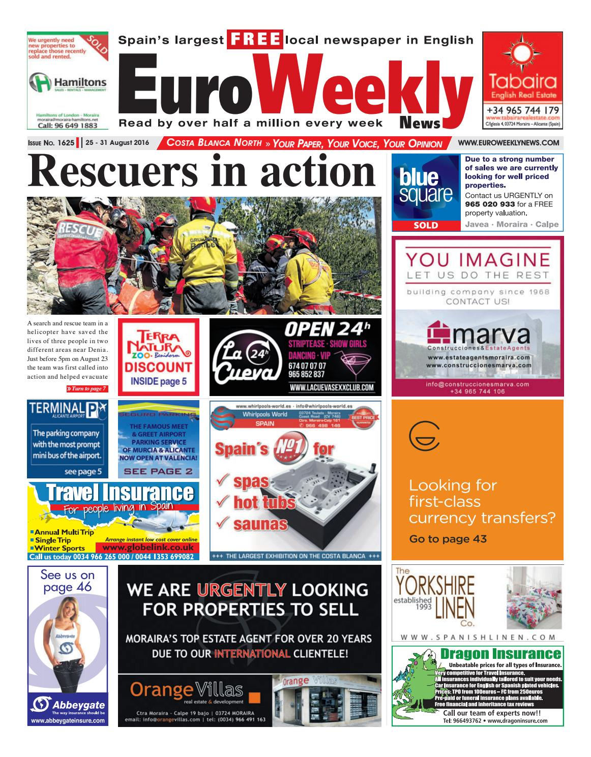 Euro Weekly News - Costa Blanca North 25 - 31 August 2016 Issue 1625 by  Euro Weekly News Media S.A. - issuu