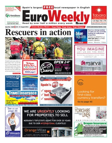 Euro weekly news costa blanca south 1 7 september 2016 issue euro weekly news costa blanca north 25 31 august 2016 issue 1625 fandeluxe Images
