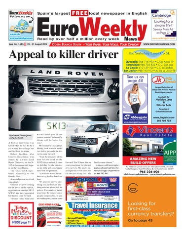 Euro weekly news costa blanca south 1 7 september 2016 issue euro weekly news costa blanca south 25 31 august 2016 issue 1625 fandeluxe Images