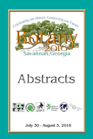 Botany 2016 Abstract Book by Johanne Stogran - issuu
