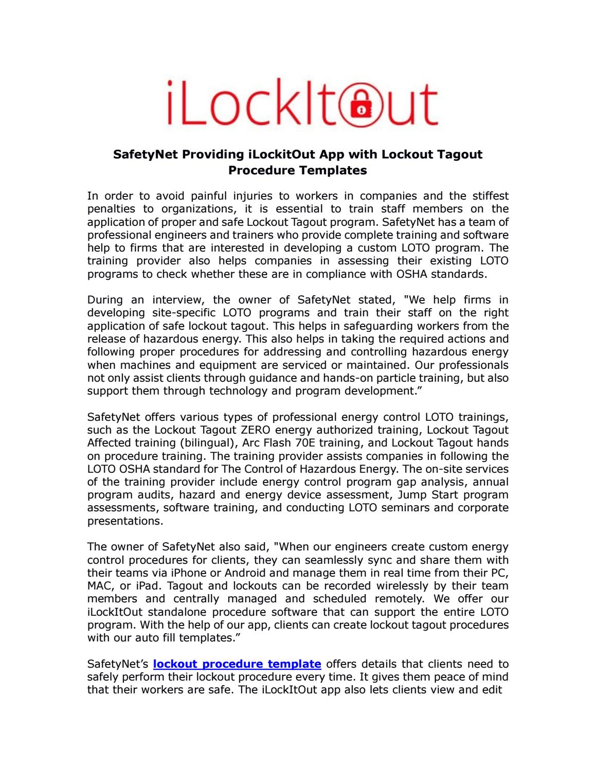 safetynet providing ilockitout app with lockout tagout procedure templates by ilockitout issuu. Black Bedroom Furniture Sets. Home Design Ideas