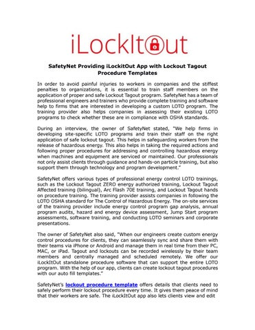 Safetynet providing ilockitout app with lockout tagout procedure ...