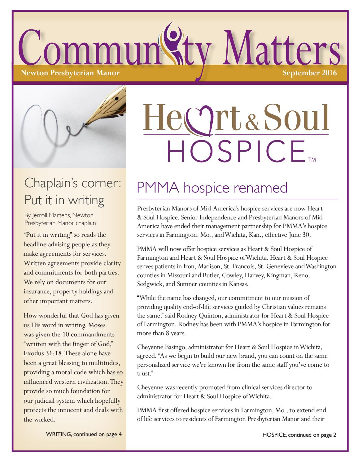 Newton Community Matters September 2016 by Presbyterian Manors of
