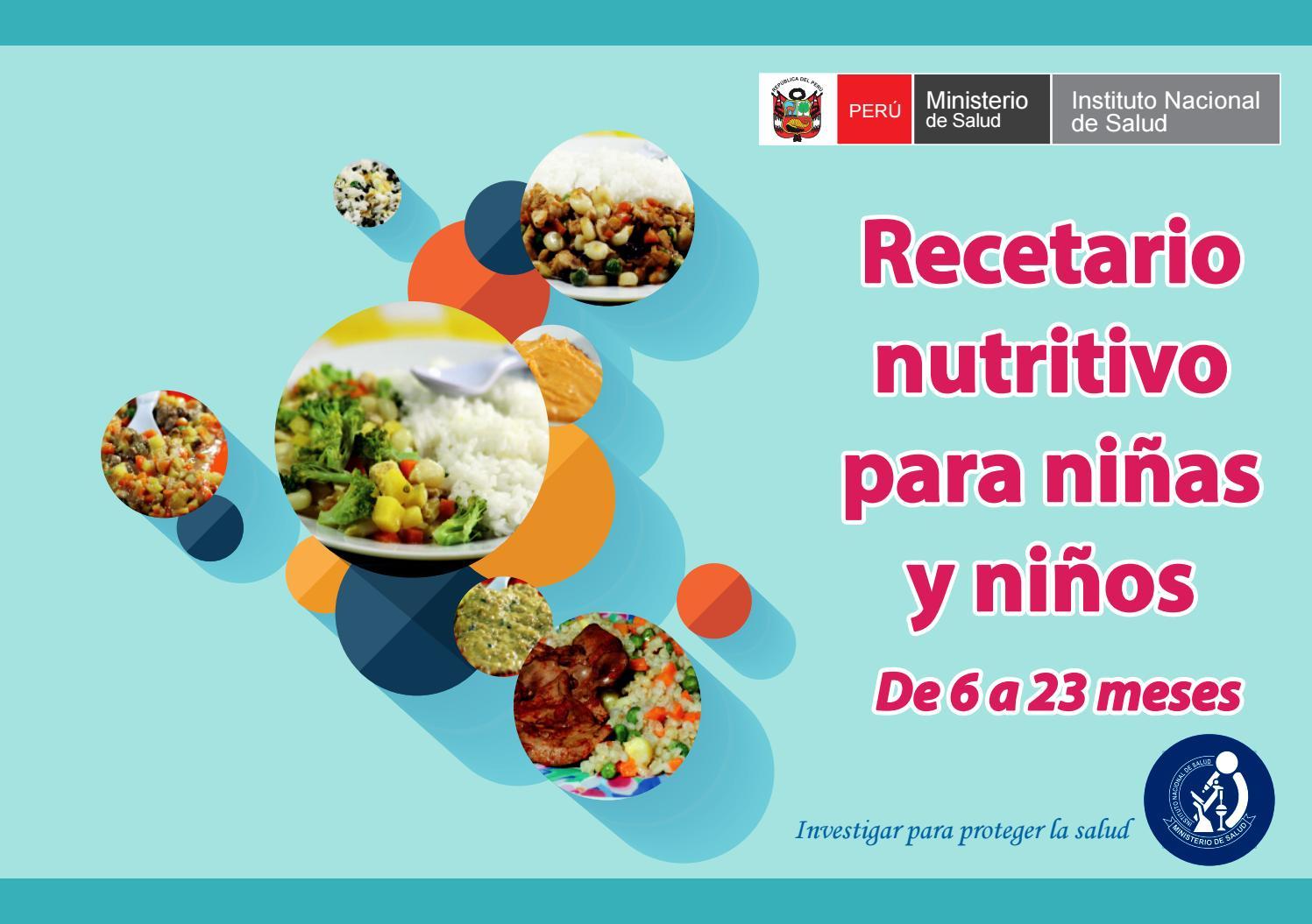 Recetario nutritivo para ni os de 06 a 23 meses by for Como preparar comida para ninos