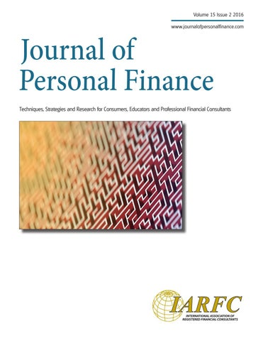 Journal of Personal Finance Vol 15 issue 2 by IARFC - issuu