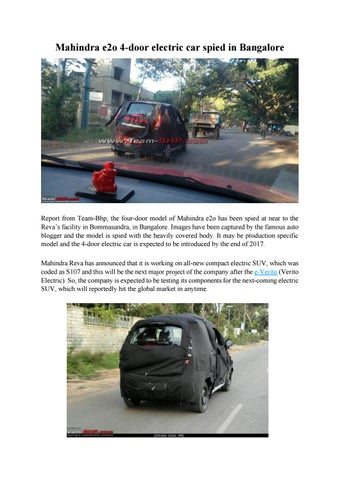 Mahindra e2o 4 door electric car spied in bangalore by