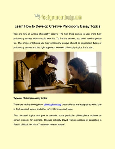 Learn How to Develop Creative Philosophy Essay Topics by Rose ...