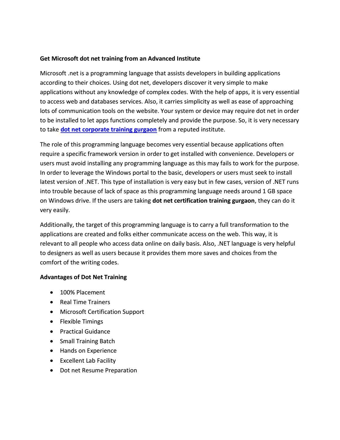 Dot Net Certification Training Gurgaon By Ssdntechnologie Issuu