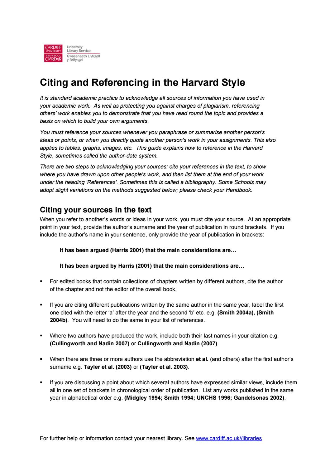 Citing And Referencing In The Harvard Style By Hcare Library Guides Cardiff  University Issuu How To Properly Cite A Paper