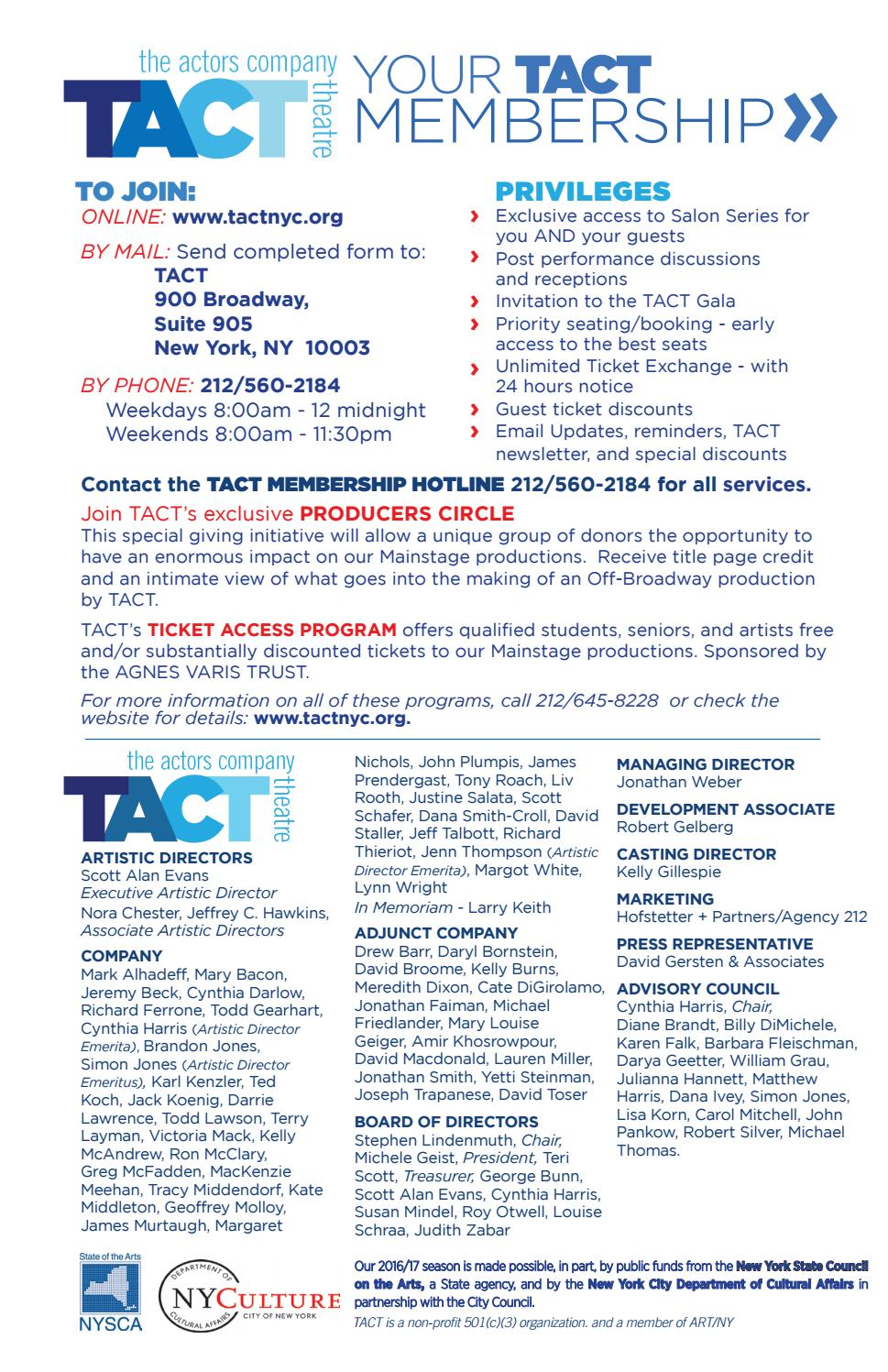 2016-17 TACT Season Brochure by TACT/The Actors Company