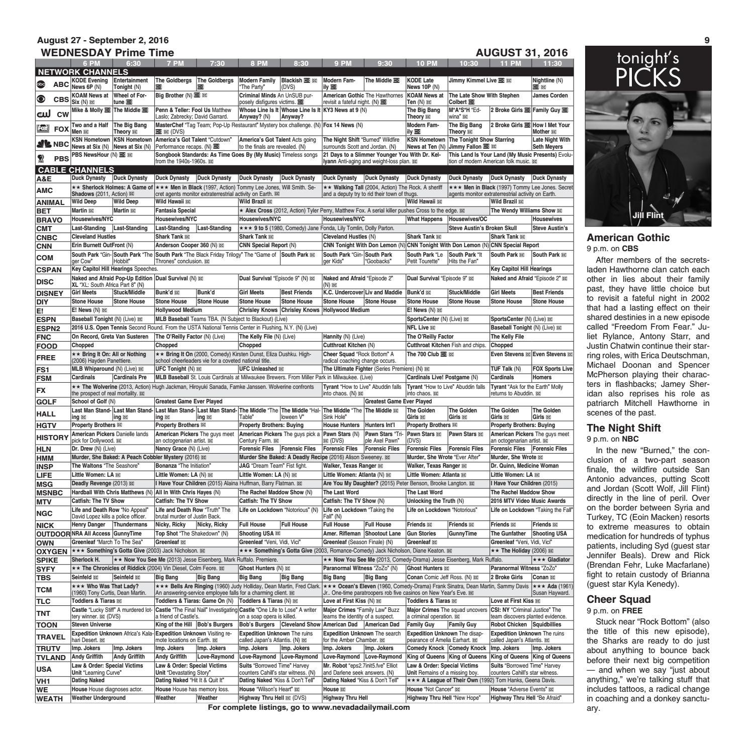 Tv guide 8 27 16