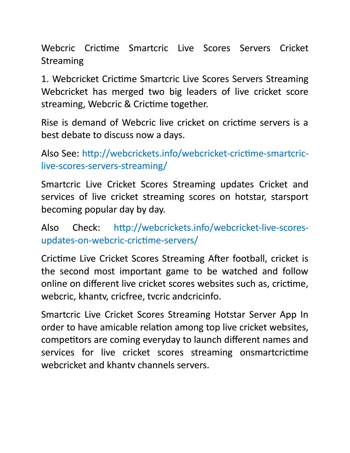 Webcric Crictime Smartcric Live Scores Servers Cricket Streaming Http Www Webcrickets Info By Http Www Pakifashion Com Issuu