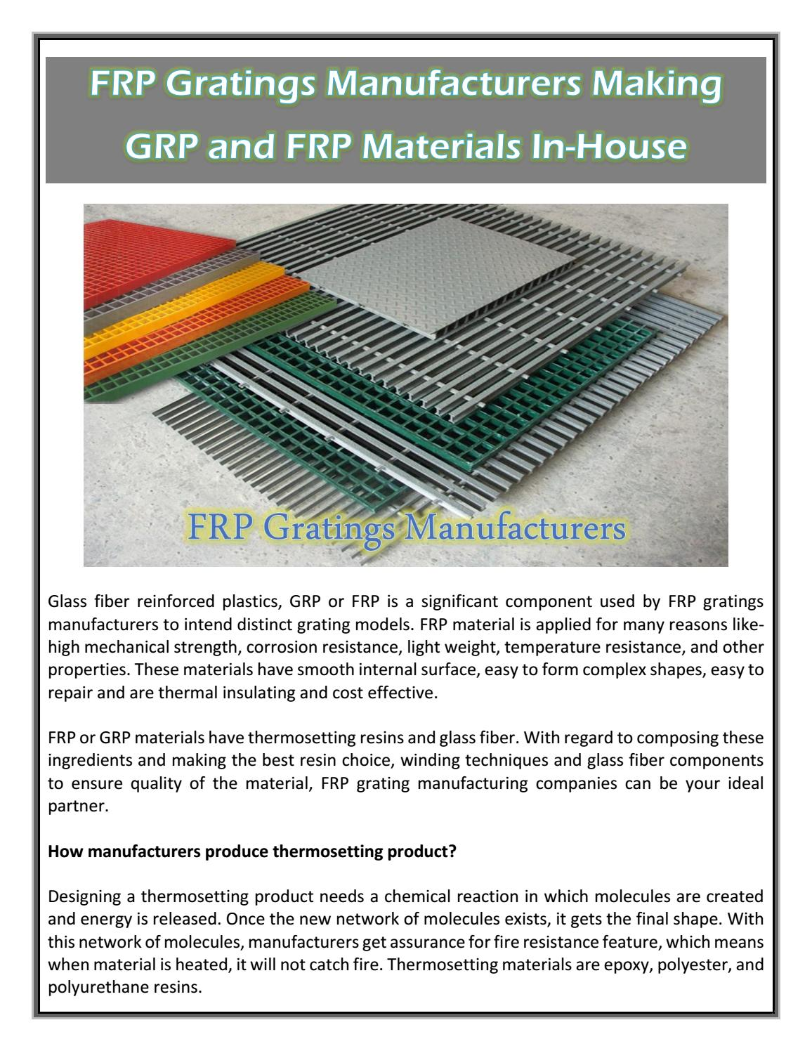 FRP Gratings Manufacturers Making GRP and FRP Materials In