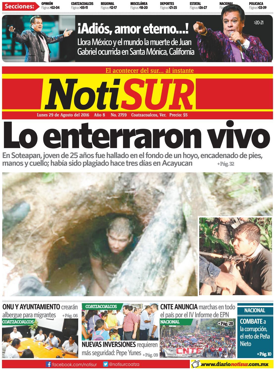 520ef5e4 NotiSUR 29 de agosto 2016 by Diario NotiSUR Coatzacoalcos 2015, 2016, 2017,  2018 & 2019 - issuu
