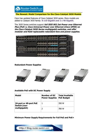 The newest model comparison for the cisco catalyst 3650 models by