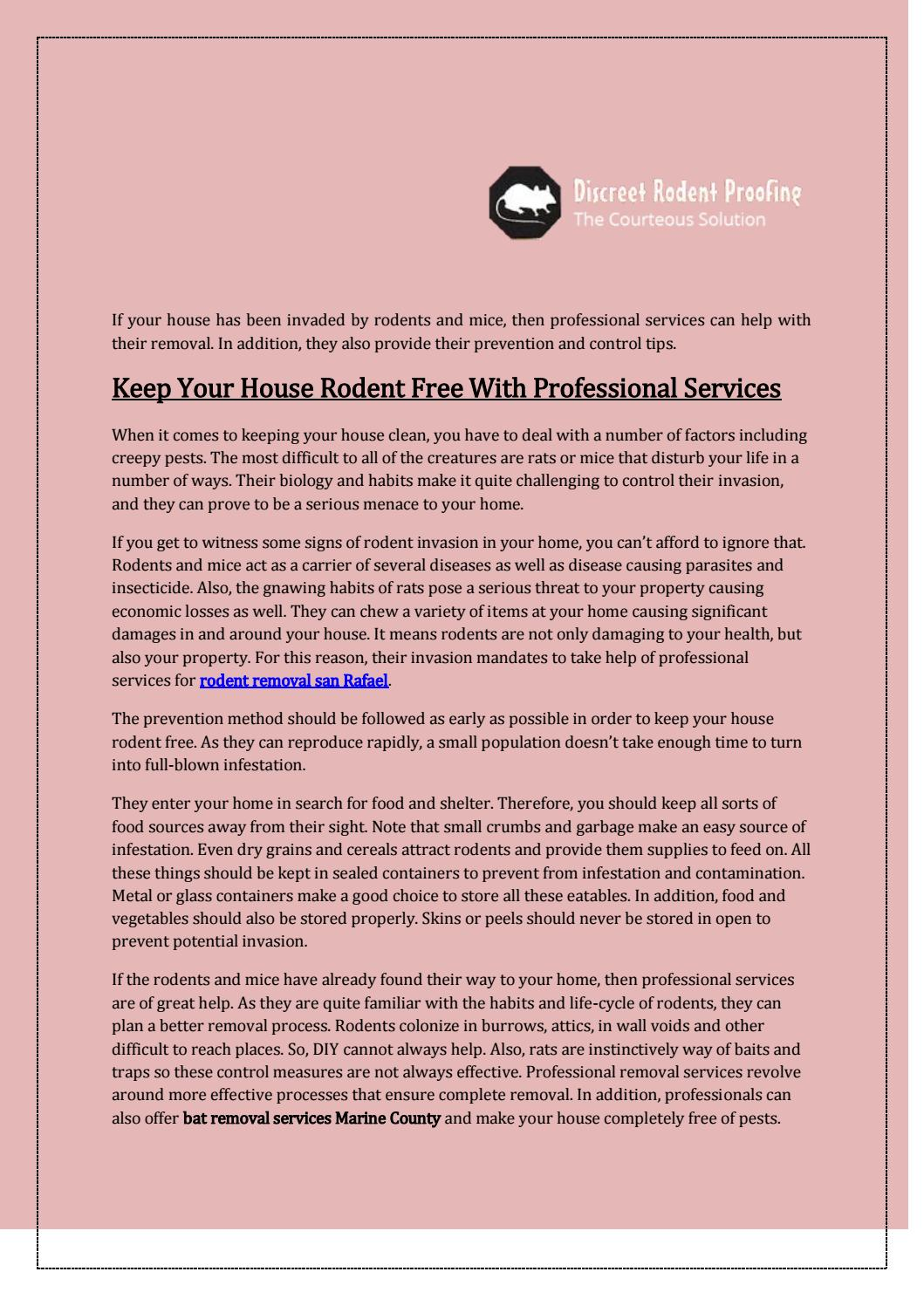 Keep your house rodent free with professional services by