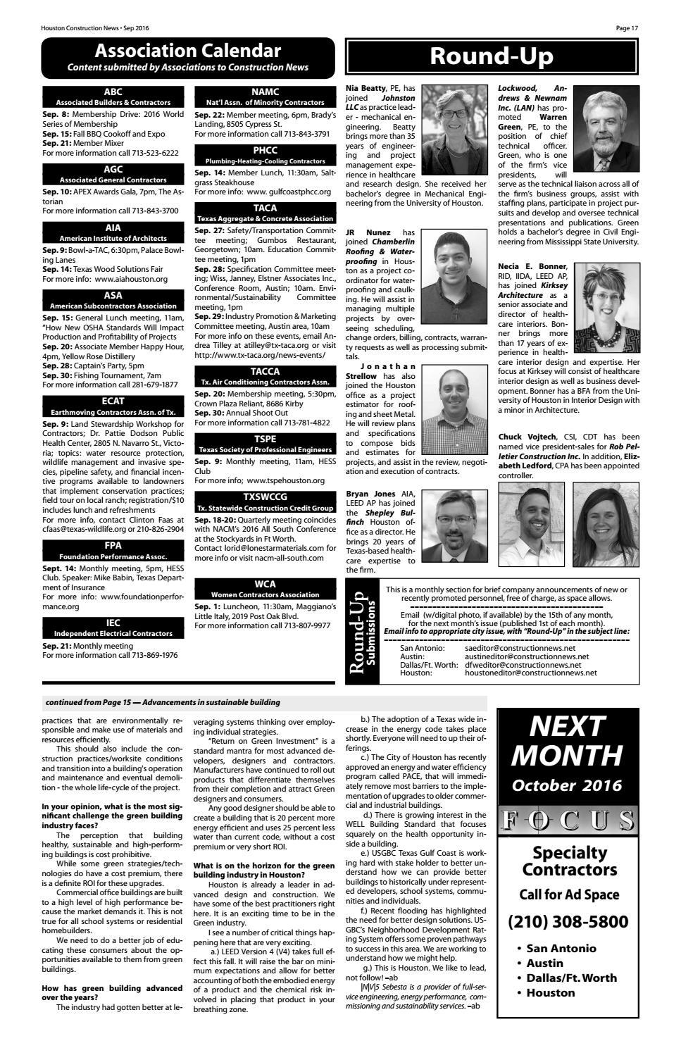 Houston Construction News September 2016 by Construction News, Ltd
