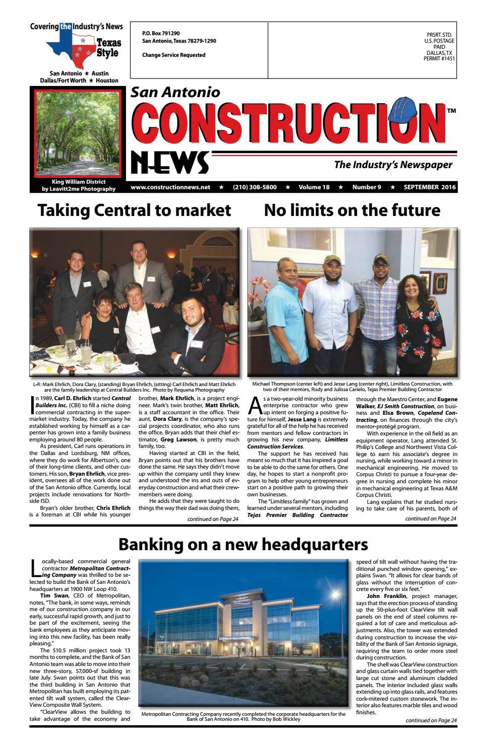 San Antonio Construction News Sept 2016 By Construction