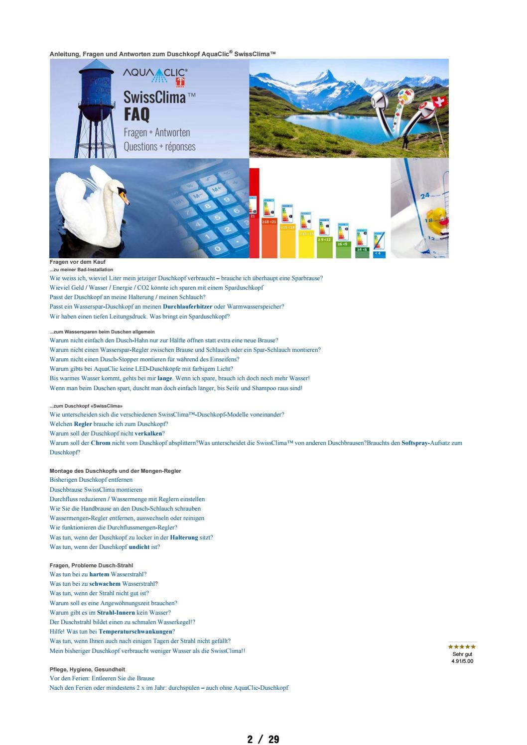 Faq Fragen Antworten Aquaclic Swissclima Duschkopf By Aquaclic Energie Und Wassersparer Mit Design Fur Wasserhahn Und Dusche Issuu
