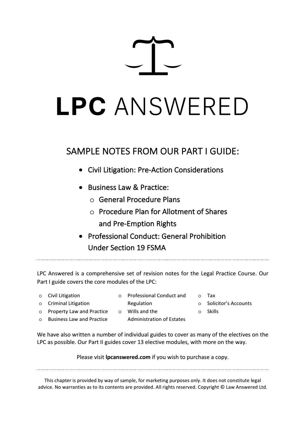 LPC Answered Core Modules Sample by Law Answered - issuu