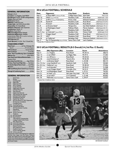 2016 UCLA FOOTBALL GENERAL INFORMATION School  UCLA Location  Los Angeles 6bf7720f1