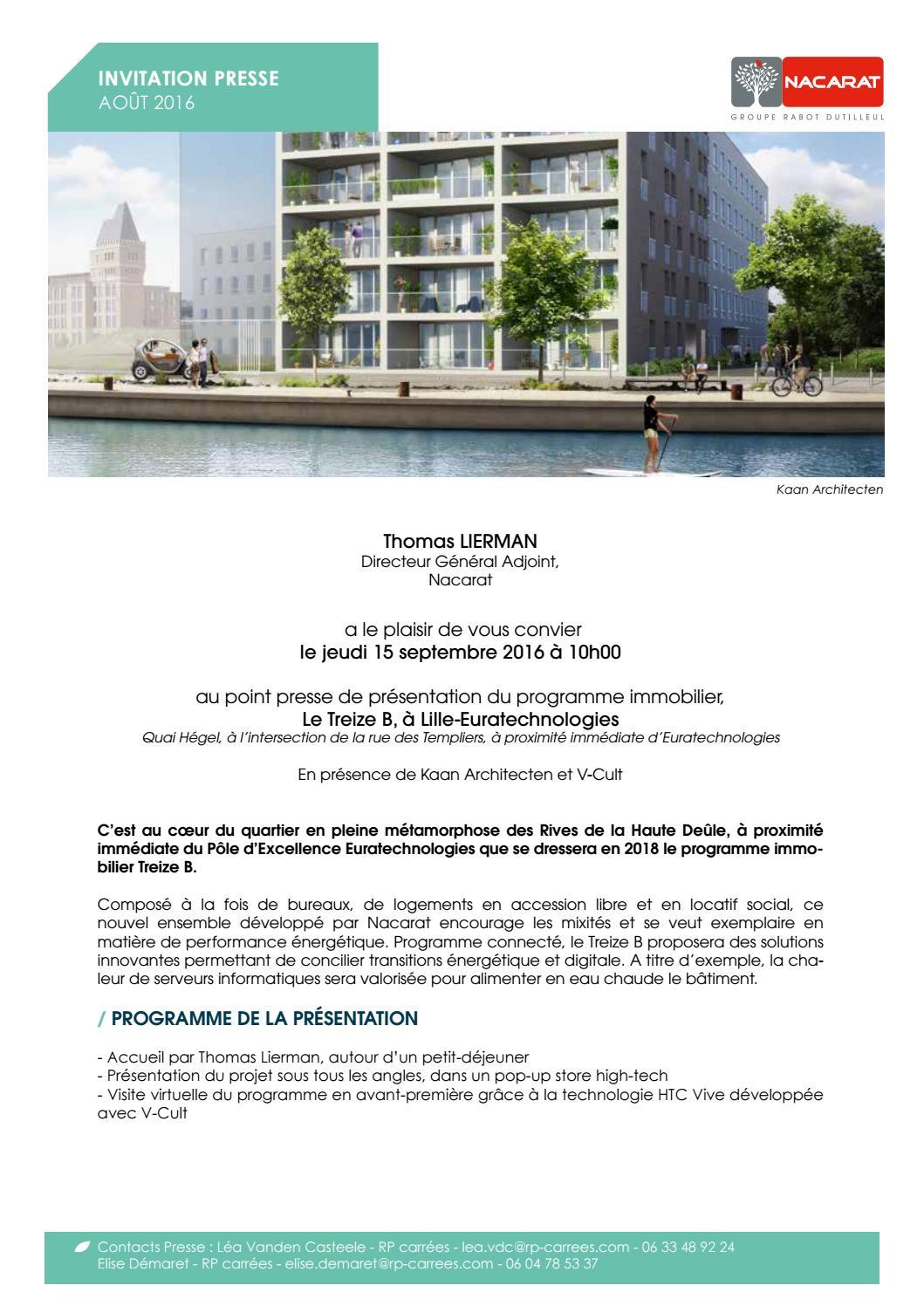 Invitation Presse Treize B By Nacarat Immo Issuu