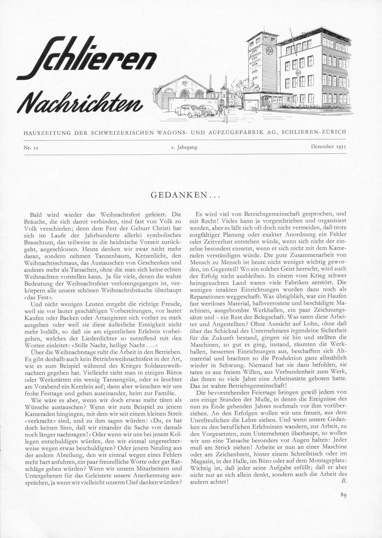 Schlieren Nachrichten 1955 Nr 12 By Wagi Museum Schlieren Issuu