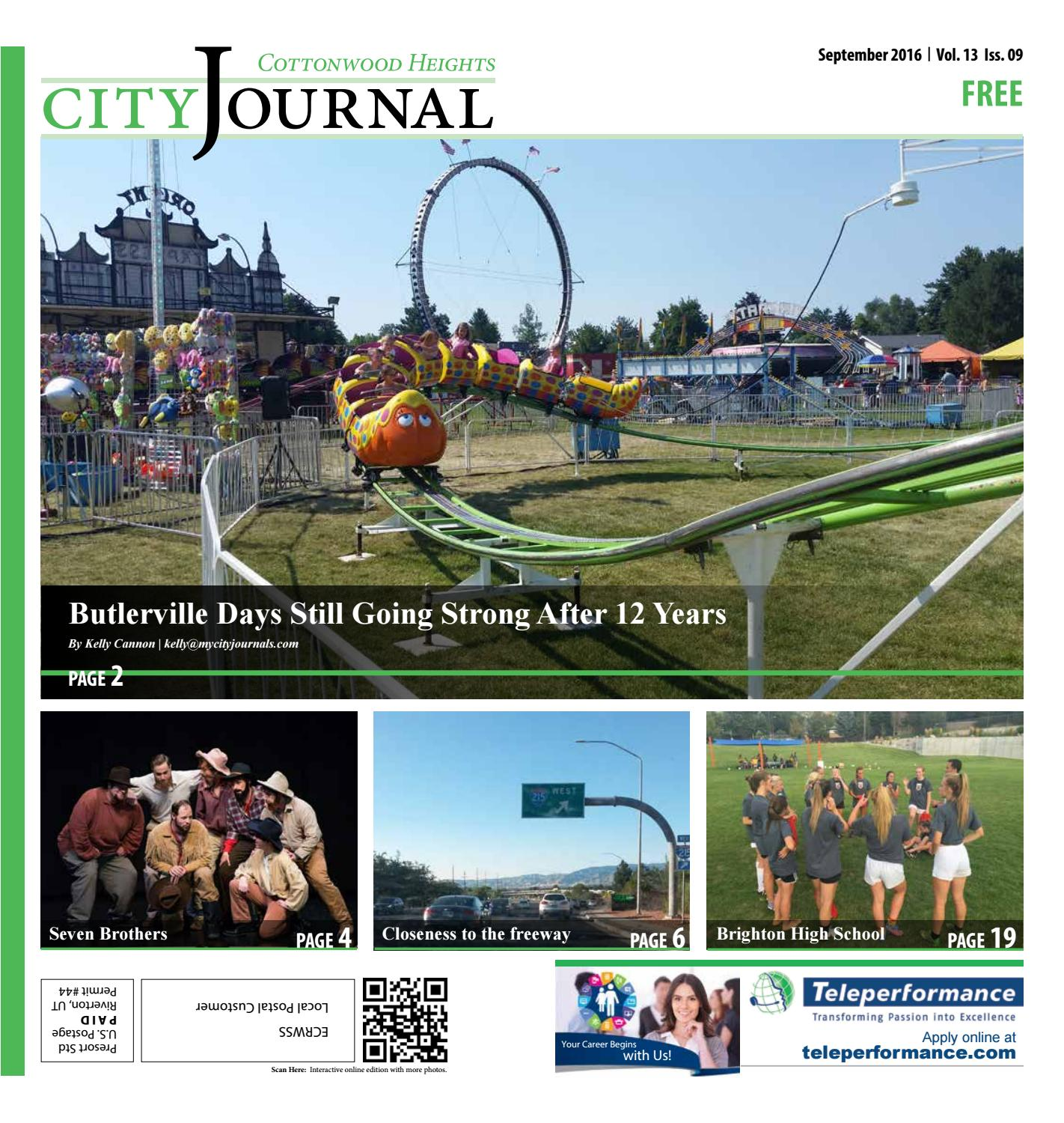 Midvale Heights Bison Celebrate >> Cottonwood Heights September 2016 By The City Journals Issuu