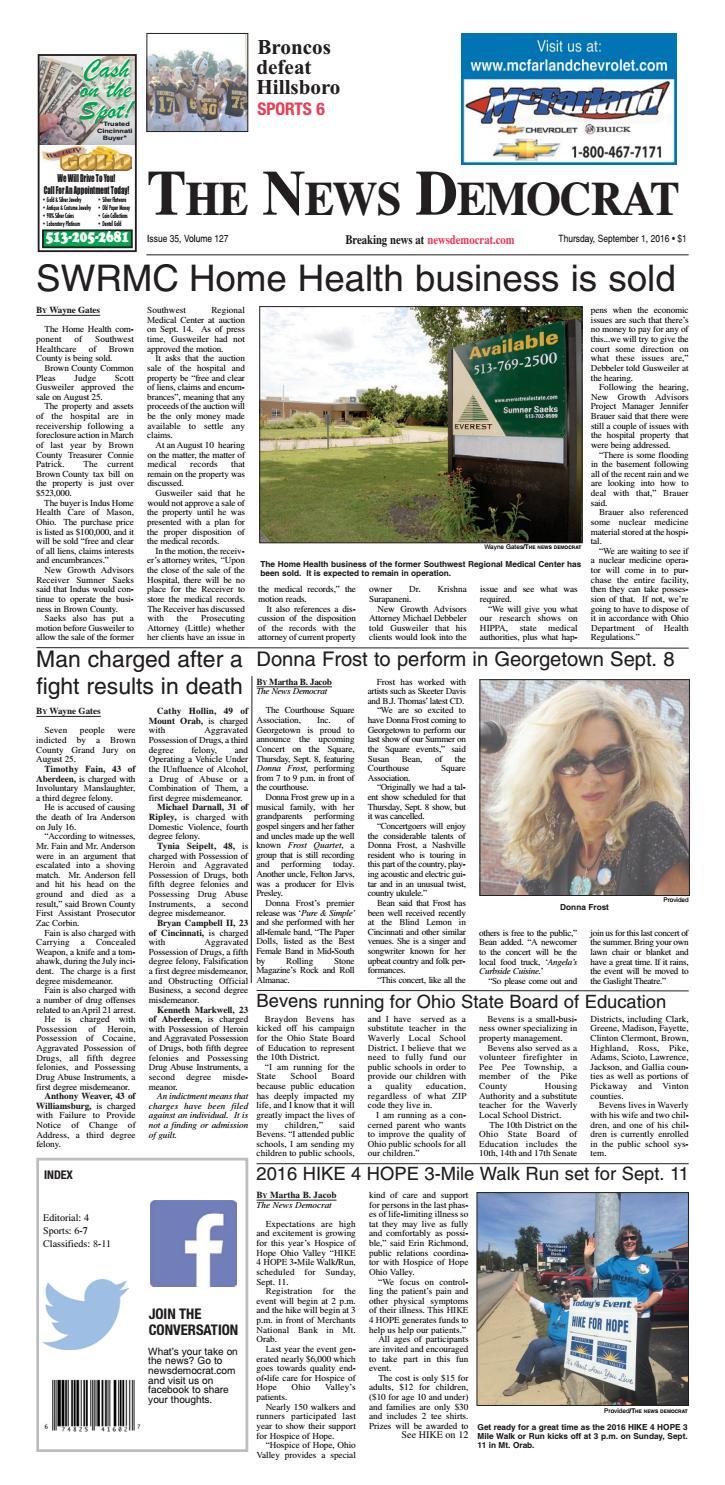 News Democrat 9 1 16 By Clermont Sun Publishing Company