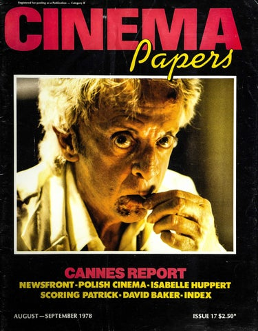 cinema papers august september 1978 by uow library issuuregistered for posting as a publication \u2014 category b cannesreport newsfront polish cinema isabelle
