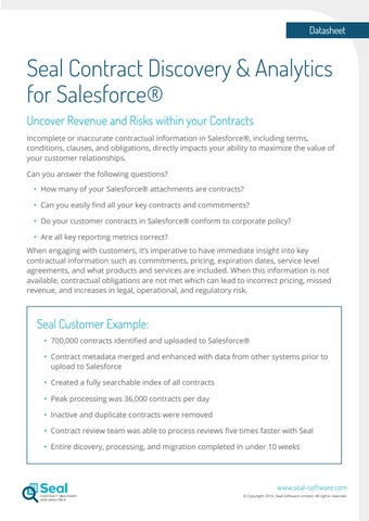 Seal Contract Discovery And Analytics For Salesforce By Seal