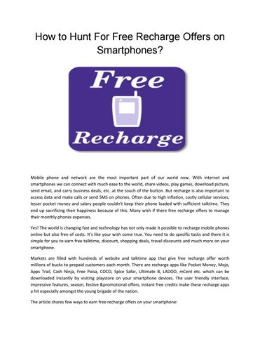 How to Hunt For Free Recharge Offers on Smartphones? by