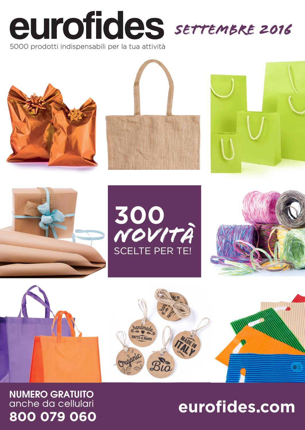 EUROFIDES/® 100 Shopper Carta Kraft Chic cm 16+8x14 colore avana con bordo nero e manico in nastro di fettuccia