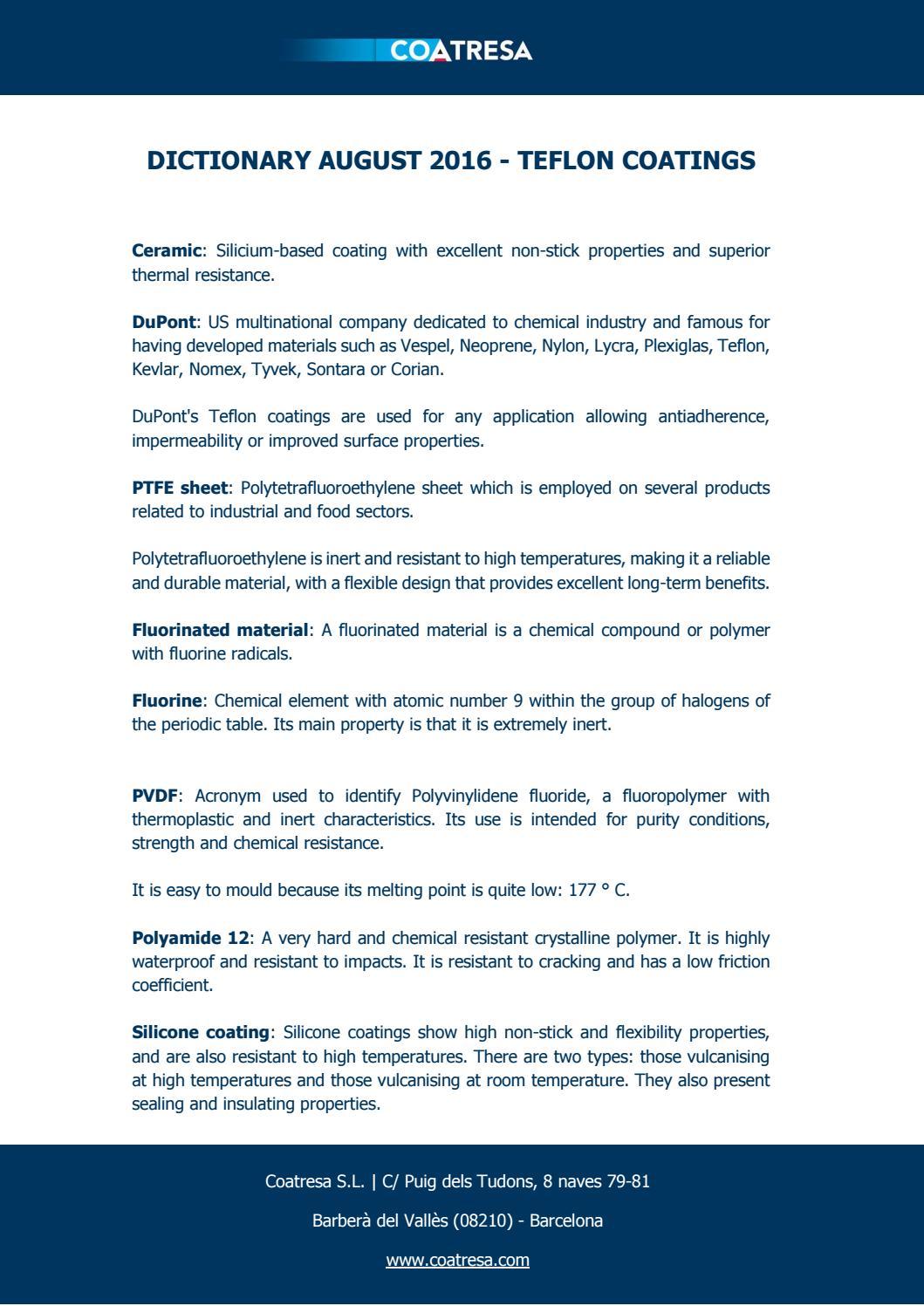 Dictionary August 2016 - Teflon Coatings by Coatresa - issuu