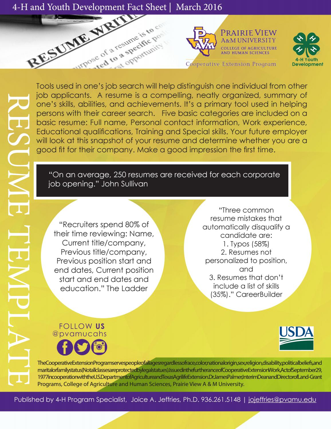 4 h and youth development resume fact sheet template by