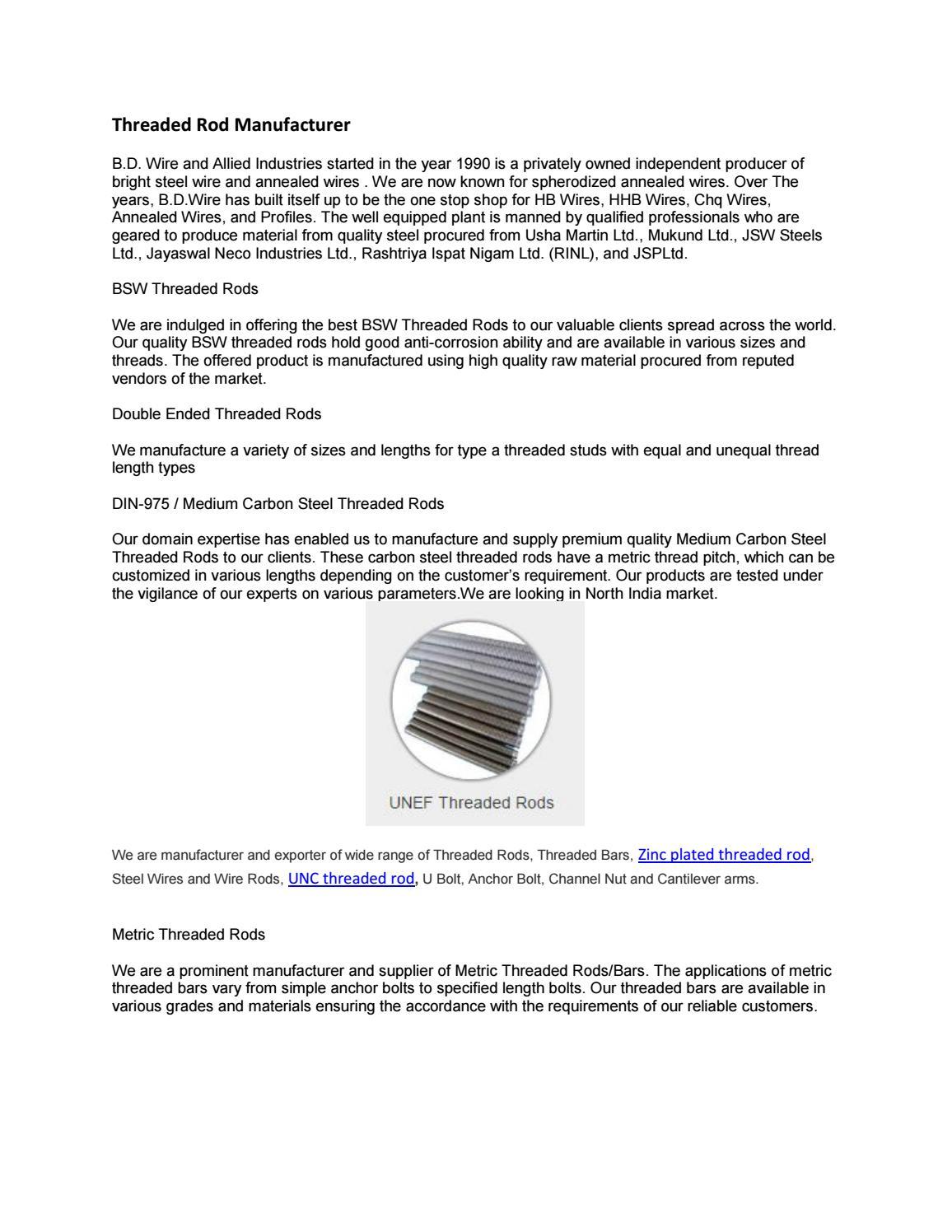 Threaded rod manufacturer by threadedrod - issuu