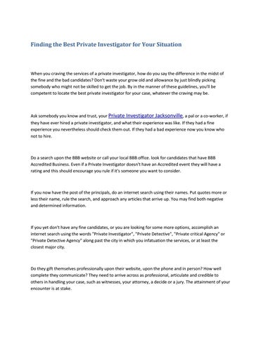 Finding the best private investigator for your situation by