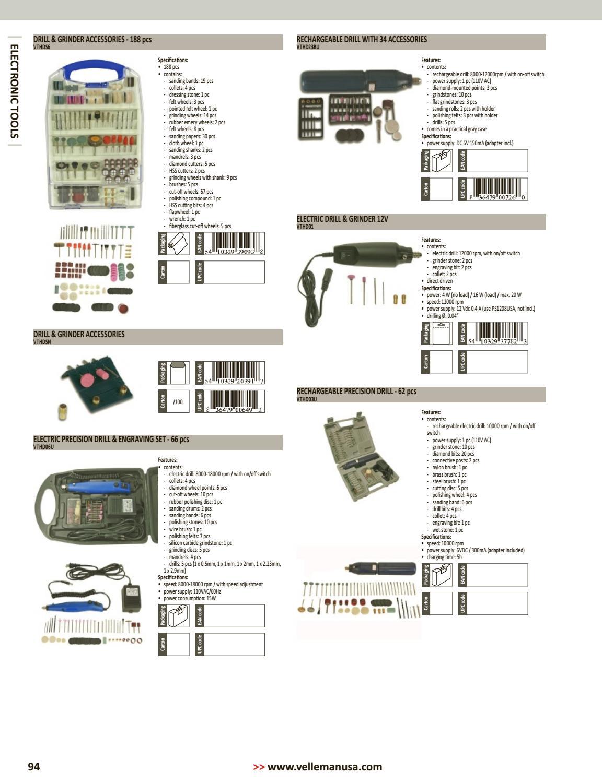 Velleman VTHDS6 DRILL /& GRINDER ACCESSORIES 188 pcs