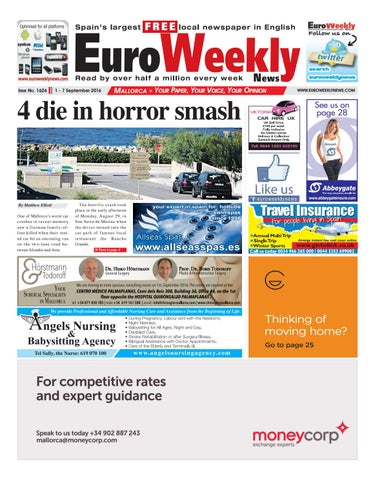 Euro weekly news mallorca 1 7 september 2016 issue 1626 by euro page 1 fandeluxe Image collections