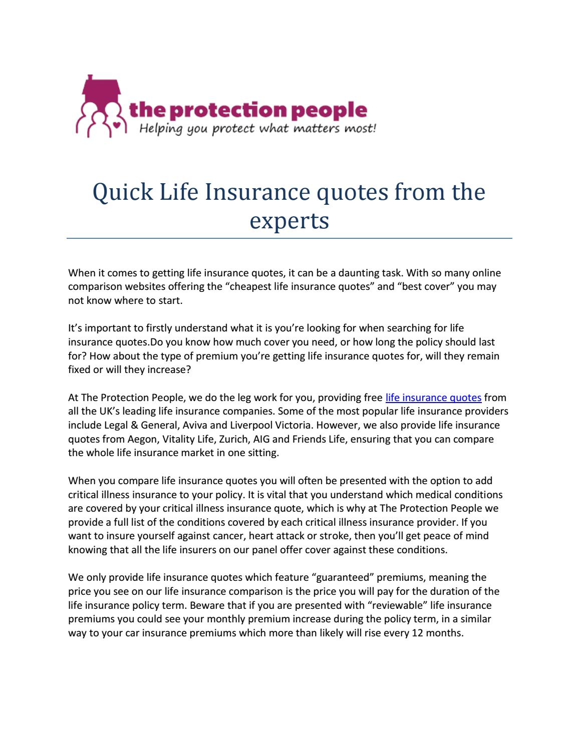 Life Insurance Quotes Comparison The Protection People  Quick Life Insurance Quotes From The