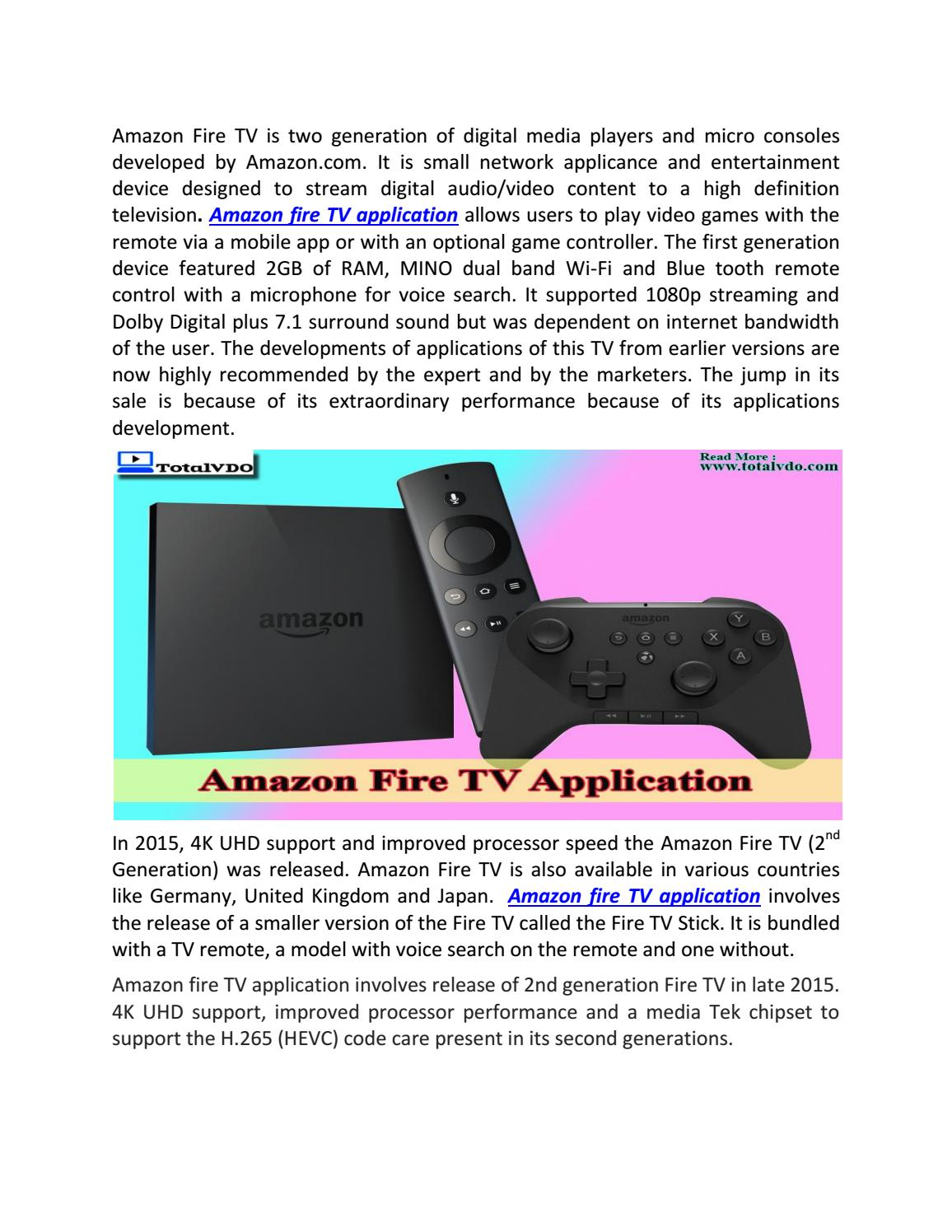 Amazon fire tv application by TotalVDO Solution - issuu