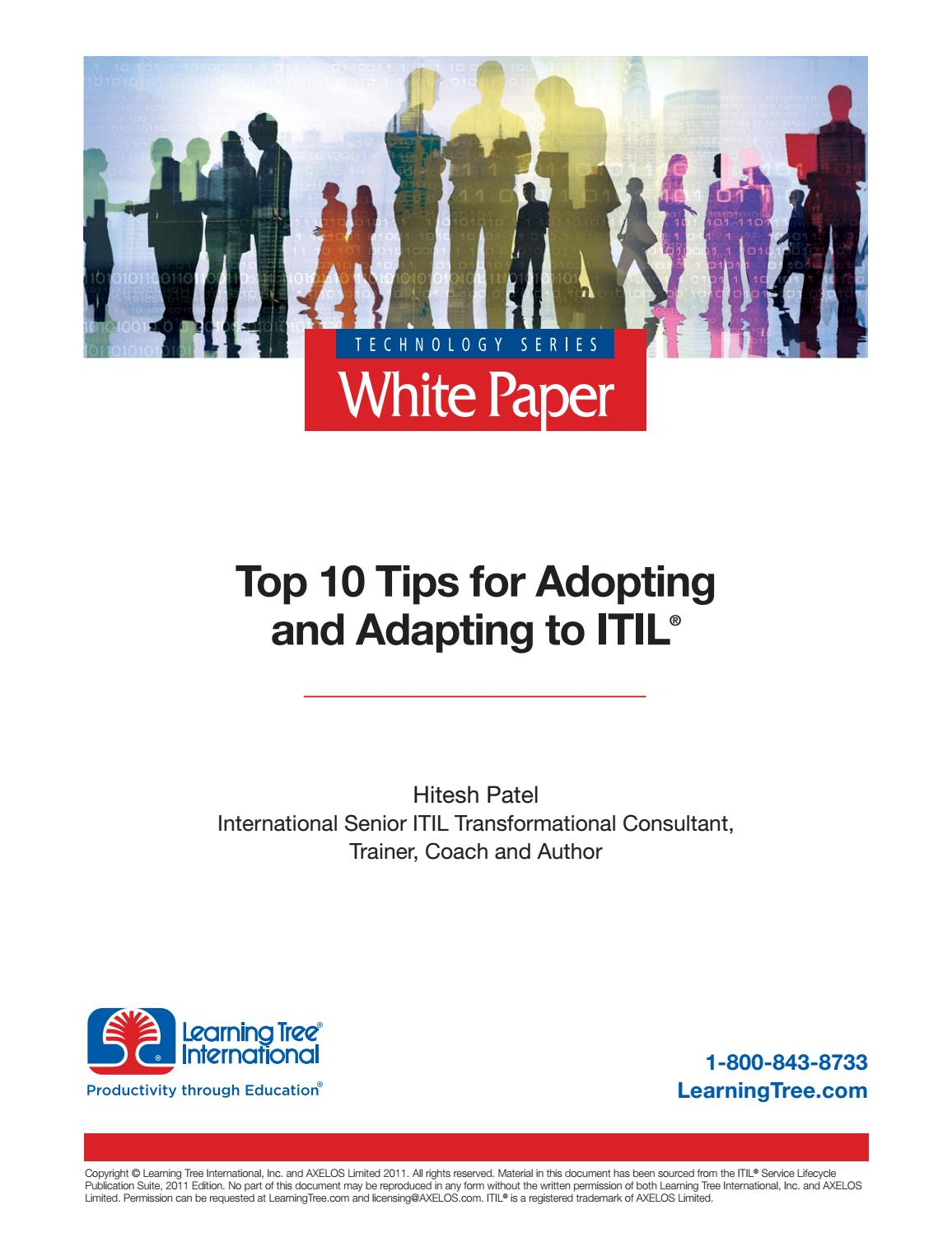 Top 10 Tips For Adopting And Adapting To Itil By Learningtree