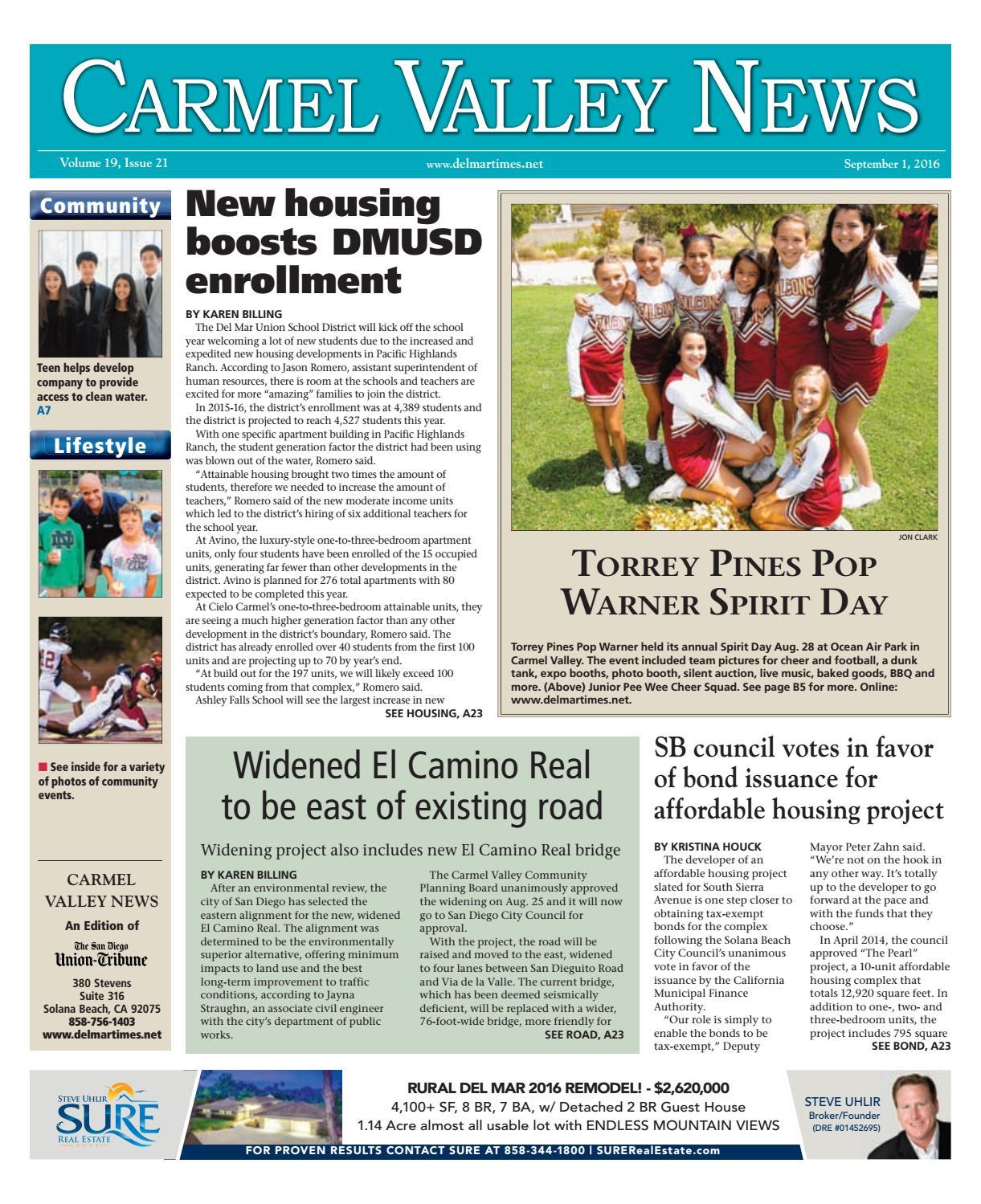 Carmel Valley News 09 01 16 By MainStreet Media