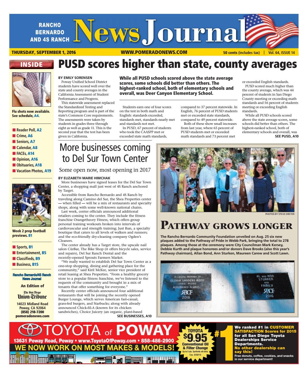 Rancho bernardo news journal 09 01 16 by MainStreet Media