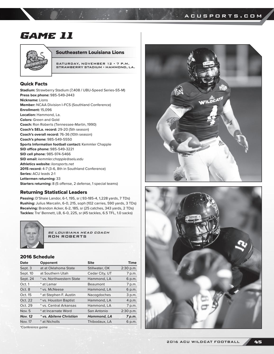 2016 Acu Wildcat Football Media Guide By Abilene Christian